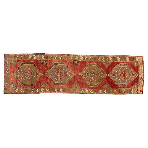 "Turkish Oushak Runner, 3'8"" x 13'"