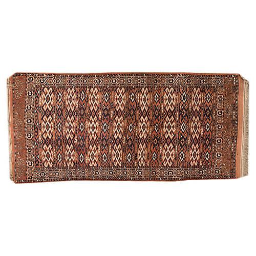 "Vintage Turkaman Rug, 4' x 8'5"""