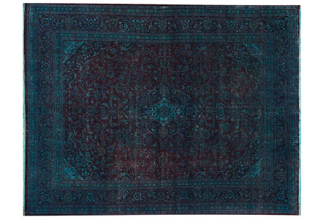 Overdyed Persian Rug, 9'2
