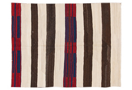 Striped Navajo-Style Rug, 4'9