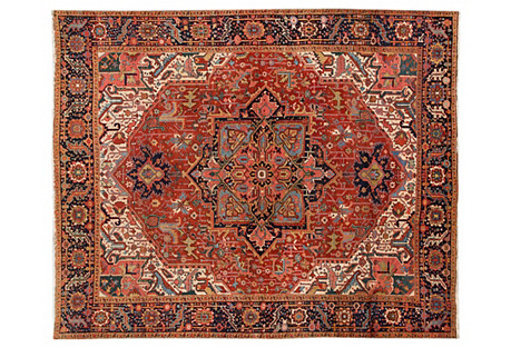 Antique Red Persian Heriz, 9'5