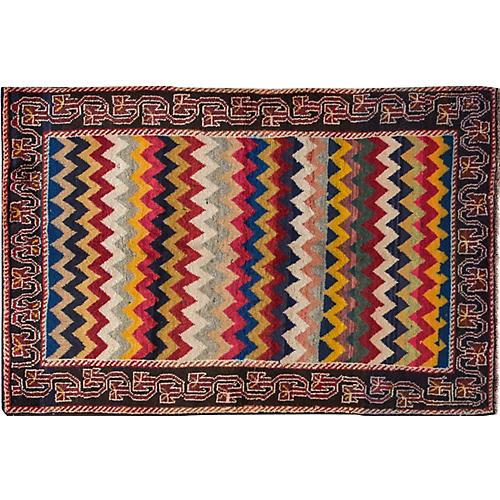 "Vintage Persian Shiraz Rug, 3'6"" x 5'5"""
