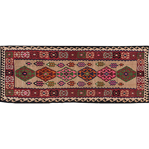 "Vintage Persian Kilim, 4'8"" x 12'4"""