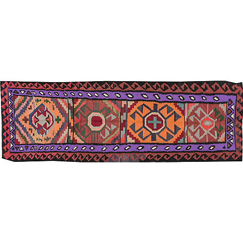 "Vintage Persian Kilim, 3'4"" x 10'"