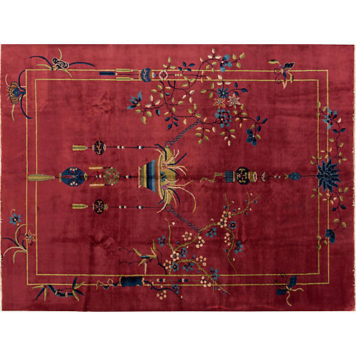 "Antique Chinese Deco Rug 9'2"" x 12'"