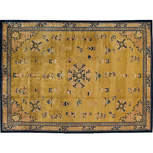 "Antique Chinese Deco Rug, 12'11"" x 17'7"""