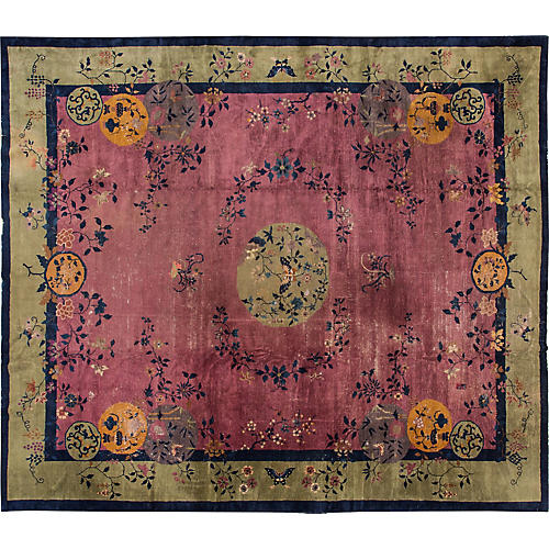 "Antique Chinese Fette Deco Rug 12'3""x14'"