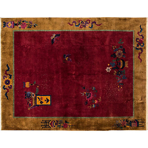 "Antique Chinese Deco Rug 8'10"" x 11'9"""
