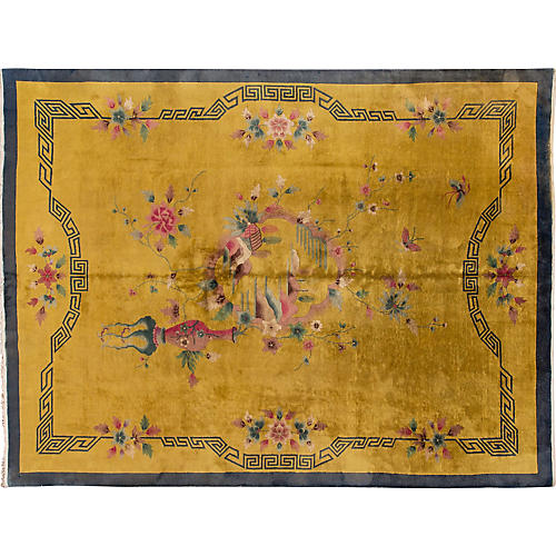 "Antique Chinese Deco Rug 8'9"" x 11'8"""