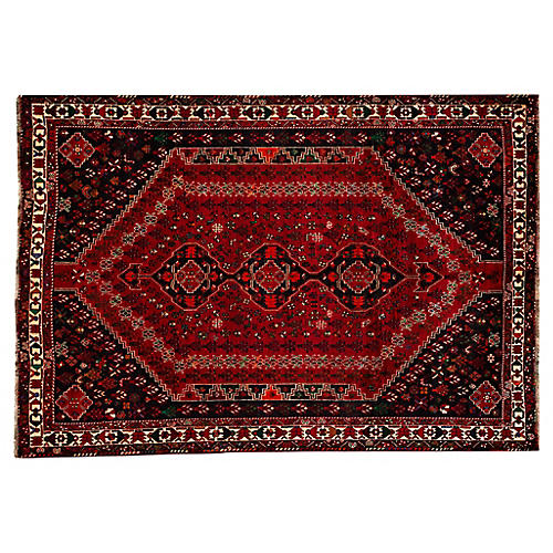 "Vintage Persian Shiraz Rug, 7'4"" x 10'6"""