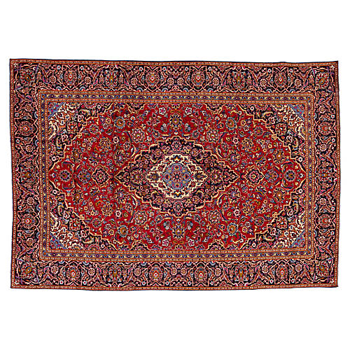 """Persian Kashan Rug, 7'8"""" x 11'0"""""""