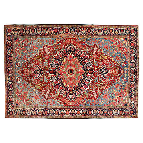 "Antique Persian Heriz Rug, 6'7"" x 9'5"""