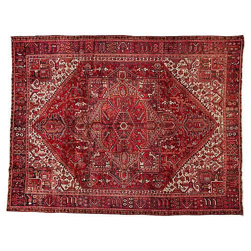 """Vintage Persian Heriz, 9'11"""" x 12'10"""""""