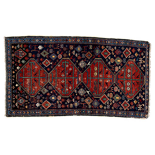 "Antique Caucasian Rug, 3'9"" x 6'7''"