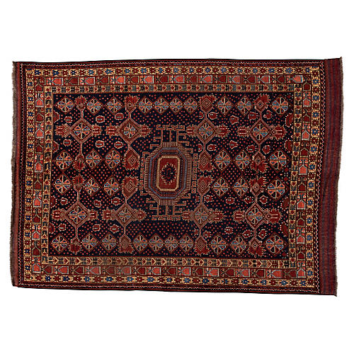"Antique Caucasian Rug, 6'9"" x 9'5"""