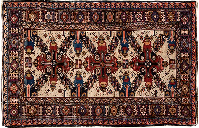 Antique Caucasian Rug, 4'5