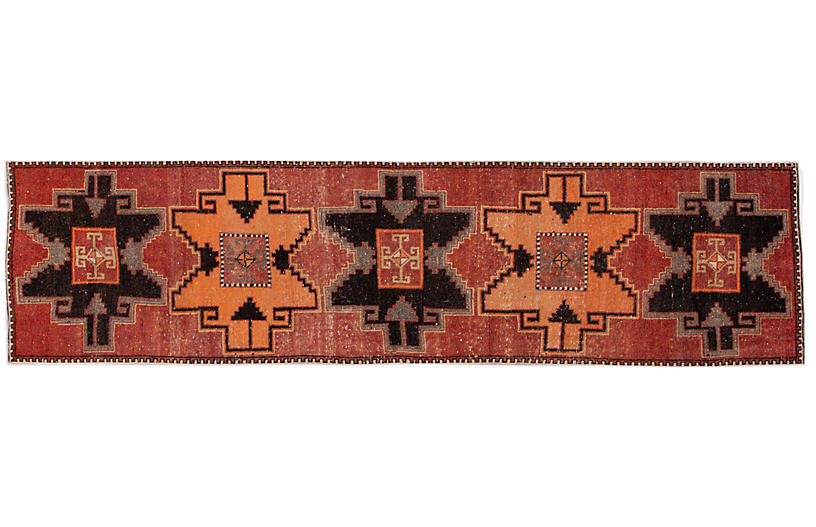 Vintage Turkish Geometric Wool Runner