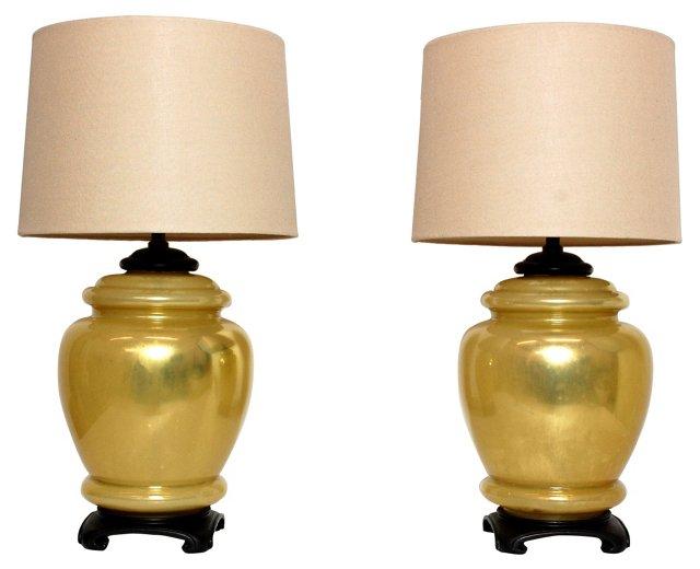 Golden Ginger Jar Lamps, Pair