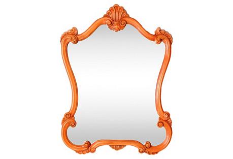 Orange Baroque-Style Mirror