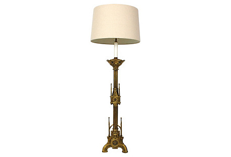 1800s Gothic Revival Candlestick Lamp