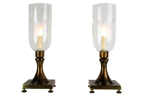 Federal Style Hurricane Lamps, Pair