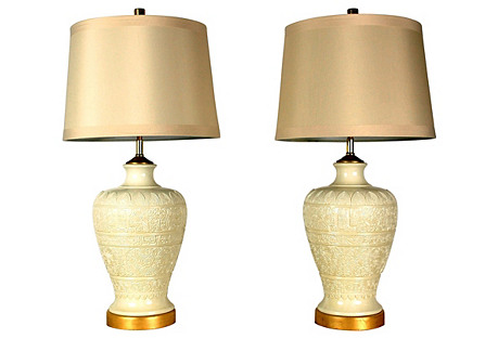 Geometric Ivory Lamps, Pair w/Shades