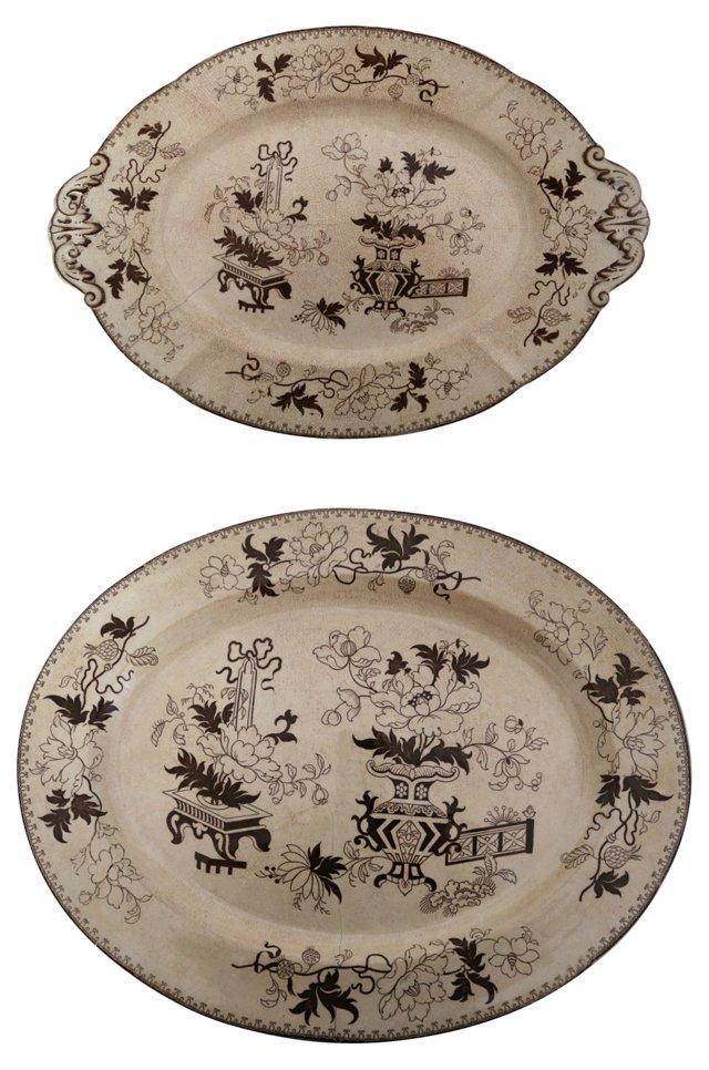 Japonica Platters, Pair
