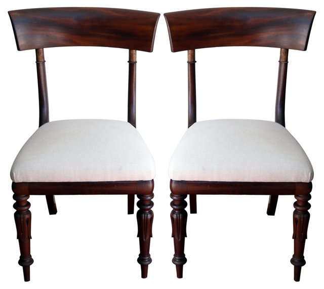 Neoclassical Mahogany  Chairs, Pair