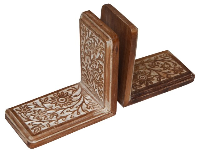 Hand-Carved Bookends