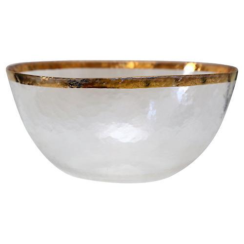 Italian Gilt-Rim Crystal Bowl
