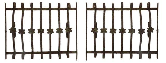 Antique Iron Window Gates, Pair
