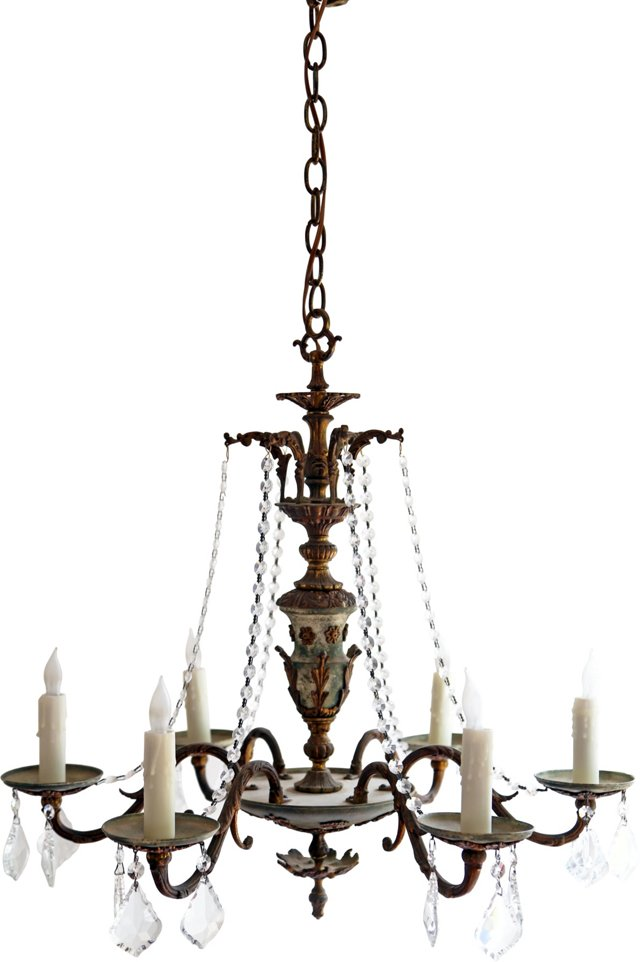 Patinated French-Style Chandelier
