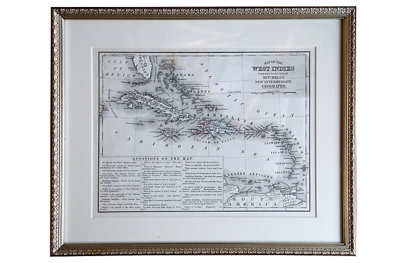 Hand-Colored Caribbean Map