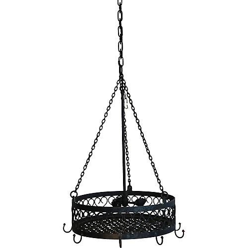 Wrought Iron Pot Rack/Light Fixture