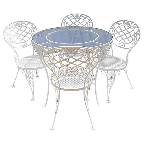 Iron & Glass Cafe Table & Chairs, 5 Pcs