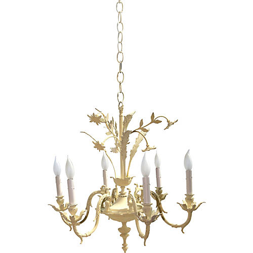 Yellow 6-Arm Floral Chandelier