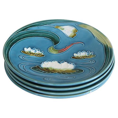 Art Nouveau Majolica Plates, S/4