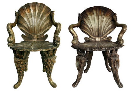 Venetian Hand-Carved Grotto Chairs, Pr