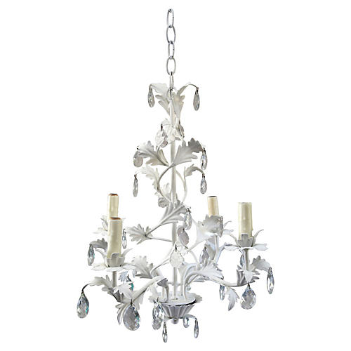 Italian Metal Leaf & Crystal Chandelier