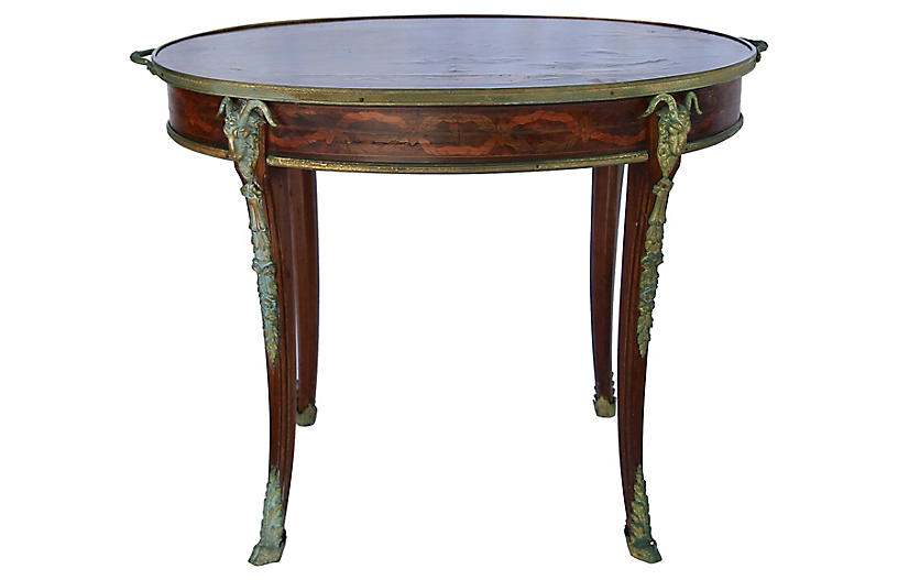 Oval Marquetry Tray Table