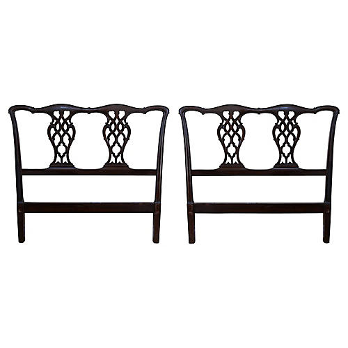 Baker Chippendale-Style Headboards, Pair