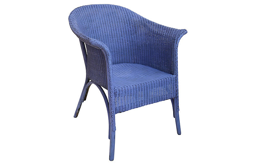 Periwinkle wicker chairs pair outdoor furniture for One kings lane outdoor furniture