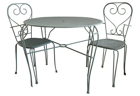 Midcentury Cafe Table & Chairs, 3 Pcs