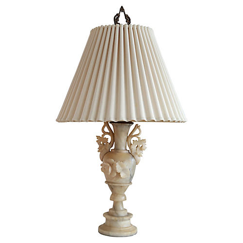Carved Soapstone Lamp w/ Pleated Shade