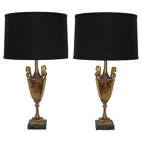 19th-C. Brass Urn Lamps, Pair