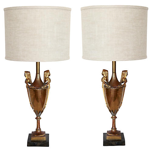 19th-C. Neoclassical Urn Lamps, Pair