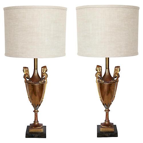 19th-C. Neoclassical Urn Lamps, Pair