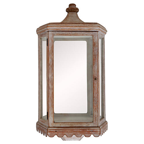 Blonde Mirrored Miniature Curio Cabinet
