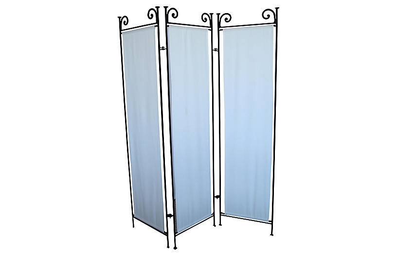 1980s Wrought Iron Three-Panel Screen