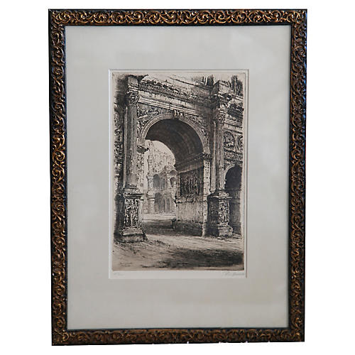 Rome Etching by Paul Gessler, 1927